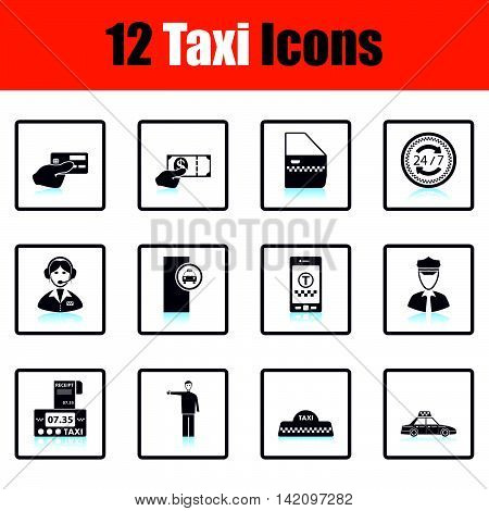 Set Of Twelve Taxi Icons