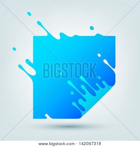 Vector illustration with abstract blue square. Abstract splash, liquid shape. Background for poster, cover, banner, placard. Logo design