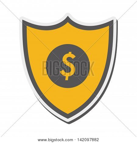 flat design shield dollar sign icon vector illustration