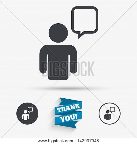 Chat sign icon. Speech bubble symbol. Chat bubble with human. Flat icons. Buttons with icons. Thank you ribbon. Vector