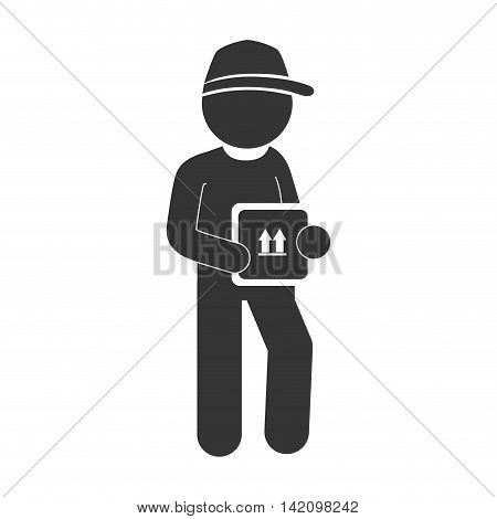 man delivery box hat pictogram dispatch service person vector graphic isolated and flat illustration