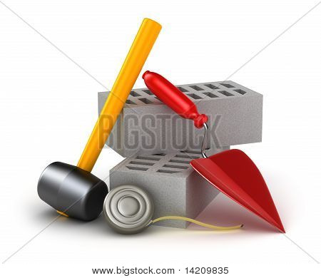 Building tools : hammer trowel and brick. Isolated on white.