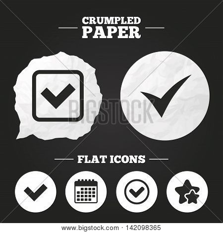 Crumpled paper speech bubble. Check icons. Checkbox confirm circle sign symbols. Paper button. Vector