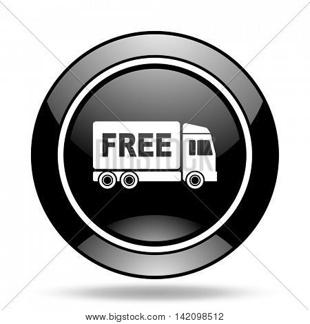 free delivery black glossy icon