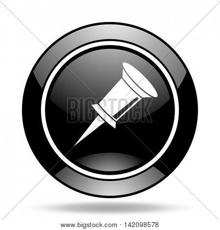 pin black glossy icon
