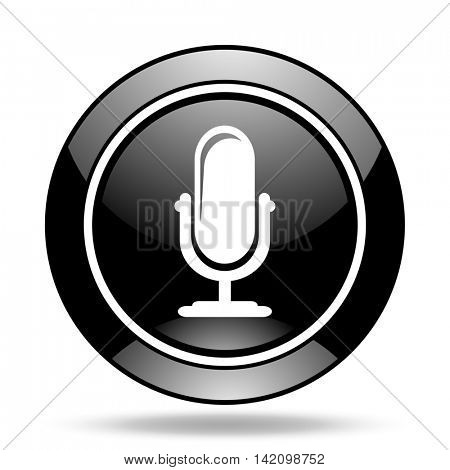 microphone black glossy icon