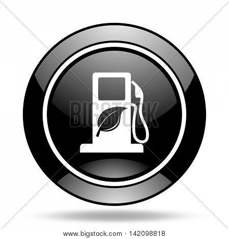 biofuel black glossy icon