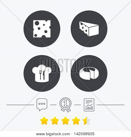 Cheese icons. Round cheese wheel sign. Sliced food with chief hat symbols. Chat, award medal and report linear icons. Star vote ranking. Vector