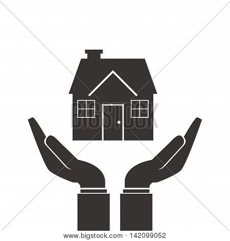flat design shelter hand with house icon vector illustration