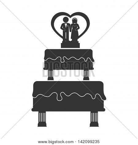 wedding cake love bake heart wife husband pastry vector graphic isolated and flat illustration