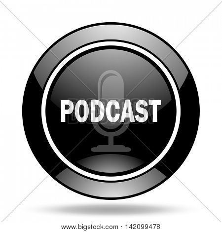 podcast black glossy icon