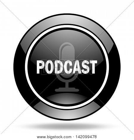 podcast black glossy icon