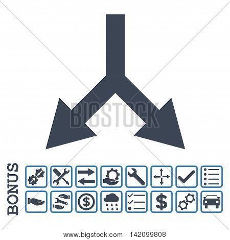 Bifurcation Arrow Down icon with bonus pictograms. Glyph style is flat iconic symbol, smooth blue colors, white background. Bonus style is bicolor square rounded frames with symbols inside.
