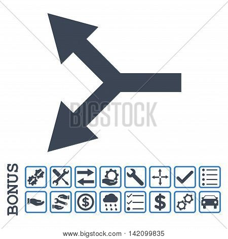 Bifurcation Arrow Left icon with bonus pictograms. Glyph style is flat iconic symbol, smooth blue colors, white background. Bonus style is bicolor square rounded frames with symbols inside.