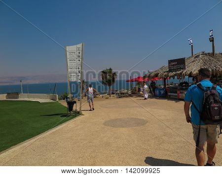 DEAD SEA ISRAEL - July 14: Beach brine and mud bathing in the Dead Sea Israel July 14 2015.