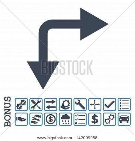 Bifurcation Arrow Right Down icon with bonus pictograms. Glyph style is flat iconic symbol, smooth blue colors, white background. Bonus style is bicolor square rounded frames with symbols inside.