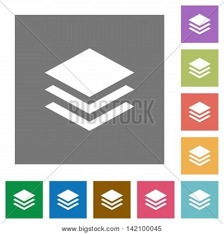 Layers flat icon set on color square background.