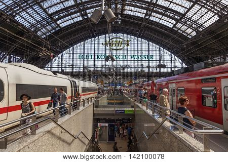 COLOGNE GERMANY - AUG 7 2016: Passenger trains at the main train station in the city of Cologne. North Rhine-Westphalia Germany