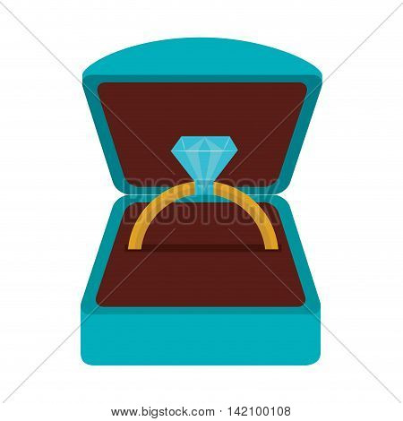 ring diamond jewelery luxury romance marriage proposal vector graphic isolated and flat illustration