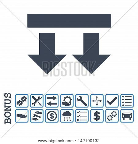 Bring Down icon with bonus pictograms. Glyph style is flat iconic symbol, smooth blue colors, white background. Bonus style is bicolor square rounded frames with symbols inside.