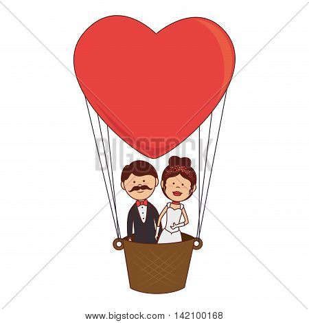 husbands boyfriends woman men wedding balloon heart air marriage  vector graphic isolated and flat illustration