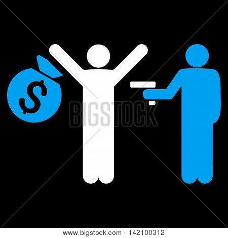 Thief Arrest icon. Vector style is bicolor flat iconic symbol with rounded angles, blue and white colors, black background.