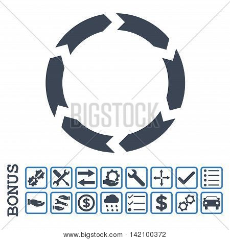 Circulation icon with bonus pictograms. Glyph style is flat iconic symbol, smooth blue colors, white background. Bonus style is bicolor square rounded frames with symbols inside.