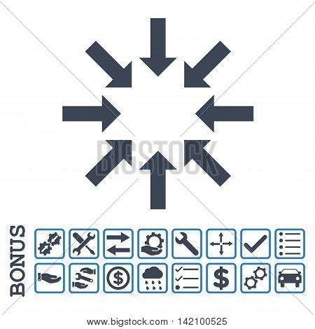 Collapse Arrows icon with bonus pictograms. Glyph style is flat iconic symbol, smooth blue colors, white background. Bonus style is bicolor square rounded frames with symbols inside.