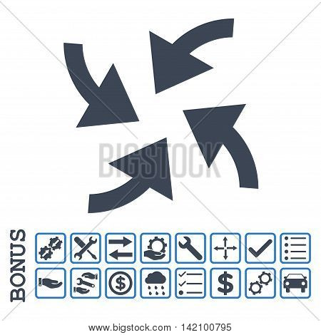 Cyclone Arrows icon with bonus pictograms. Glyph style is flat iconic symbol, smooth blue colors, white background. Bonus style is bicolor square rounded frames with symbols inside.