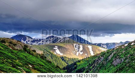 Storm clouds over mountains. Independence Pass near Aspen in Rocky Mountains Colorado United States.