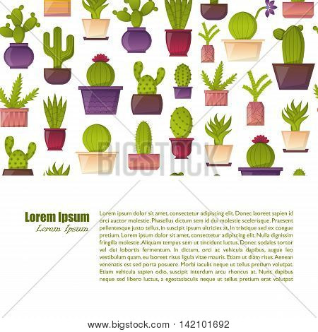 Vector illustration with cartoon isolated cactus. Vector house plant in flowerpot home interior background. Desert mexican succulent.