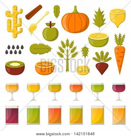 Vector illustration with cartoon summer ingredients for detox smoothie. Vegetables fruits chia seeds colorful glasses. Fresh detox smoothie vitamin healthy living. Vegan diet vegetarian lifestyle