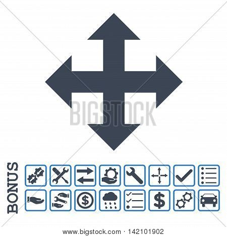 Expand icon with bonus pictograms. Glyph style is flat iconic symbol, smooth blue colors, white background. Bonus style is bicolor square rounded frames with symbols inside.