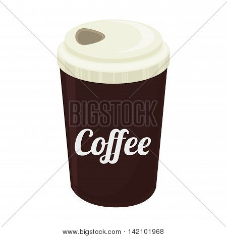 cup coffee take away drink cap paper  beverage vector graphic isolated and flat illustration