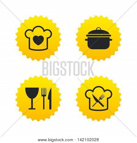 Chief hat with heart and cooking pan icons. Crosswise fork and knife signs. Boil or stew food symbol. Yellow stars labels with flat icons. Vector