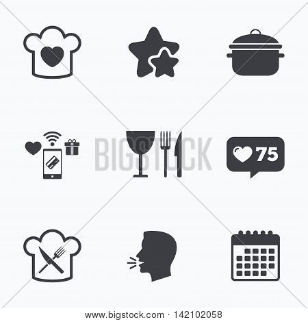 Chief hat with heart and cooking pan icons. Crosswise fork and knife signs. Boil or stew food symbol. Flat talking head, calendar icons. Stars, like counter icons. Vector