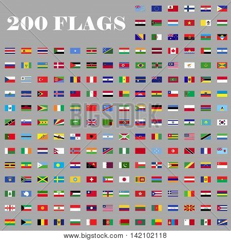 200 flags set. Universal flags set to use for web and mobile UI vector illustration