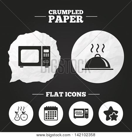 Crumpled paper speech bubble. Microwave grill oven icons. Cooking apple and pear signs. Food platter serving symbol. Paper button. Vector