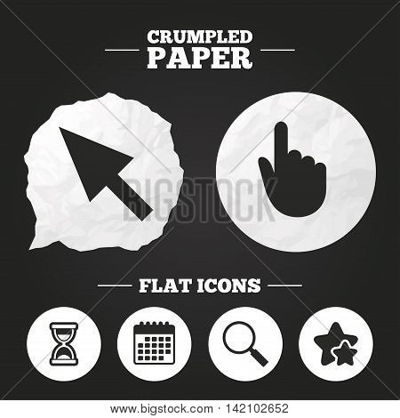 Crumpled paper speech bubble. Mouse cursor and hand pointer icons. Hourglass and magnifier glass navigation sign symbols. Paper button. Vector