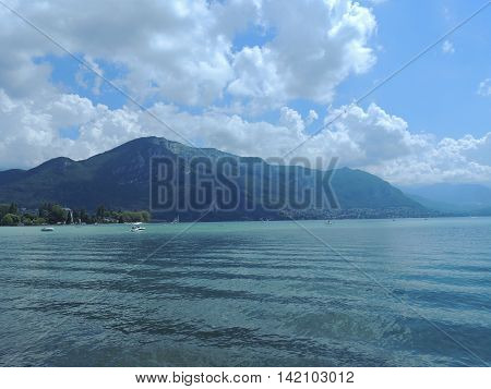 View on lake Annecy and mountains in French Alps