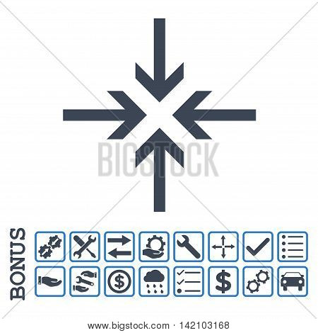 Reduce Arrows icon with bonus pictograms. Glyph style is flat iconic symbol, smooth blue colors, white background. Bonus style is bicolor square rounded frames with symbols inside.
