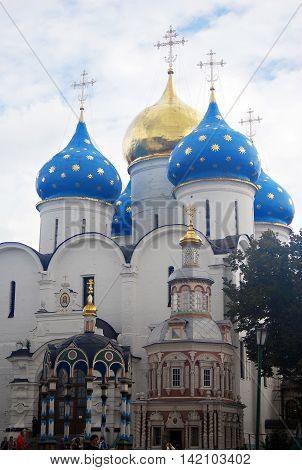 Church Domes in Trinity Sergius Lavra Sergiev Posad Russia. UNESCO World Heritage Site.