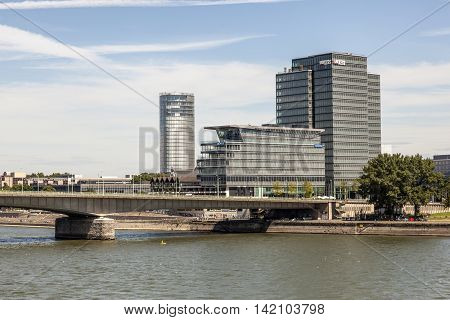 COLOGNE GERMANY - AUG 7 2016: Lanxess Group headquarters building at the Rhine river in Cologne Germany