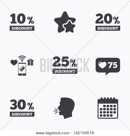 Sale discount icons. Special offer price signs. 10, 20, 25 and 30 percent off reduction symbols. Flat talking head, calendar icons. Stars, like counter icons. Vector