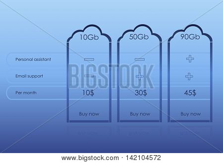 Vector tag pricing table for websites and applications