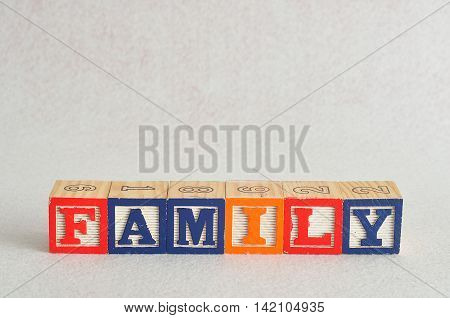 The word family spelled with alphabet blocks isolated on a white background