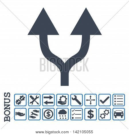 Split Arrows Up icon with bonus pictograms. Glyph style is flat iconic symbol, smooth blue colors, white background. Bonus style is bicolor square rounded frames with symbols inside.