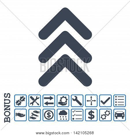 Triple Arrowhead Up icon with bonus pictograms. Glyph style is flat iconic symbol, smooth blue colors, white background. Bonus style is bicolor square rounded frames with symbols inside.