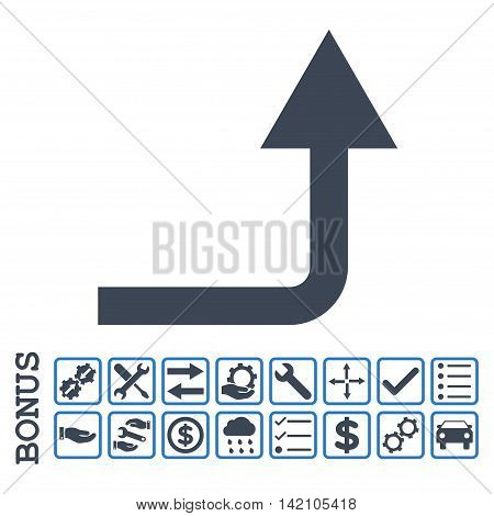 Turn Forward icon with bonus pictograms. Glyph style is flat iconic symbol, smooth blue colors, white background. Bonus style is bicolor square rounded frames with symbols inside.