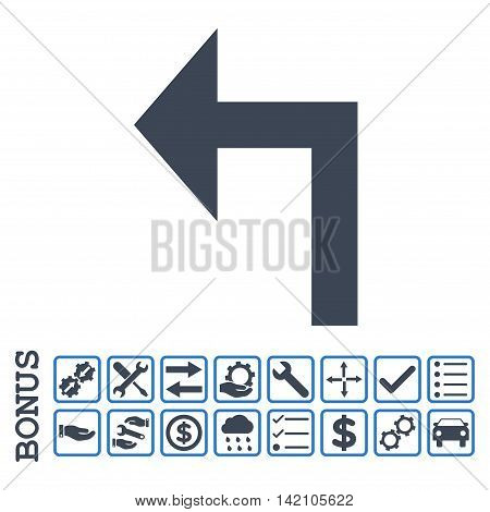 Turn Left icon with bonus pictograms. Glyph style is flat iconic symbol, smooth blue colors, white background. Bonus style is bicolor square rounded frames with symbols inside.